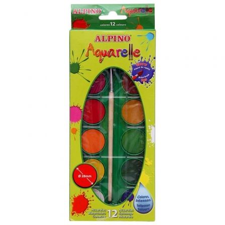 ACUARELAS ALPINO AQUARELLE - 12 COLORES INTENSOS Y BRILLANTES - O28MM - PINCEL INCLUIDO
