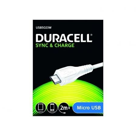 CABLE DURACELL USB5023W USB-MICRO USB - PARA CARGA Y SINCRONIZACION - 2 METROS - COLOR BLANCO | Cable usb