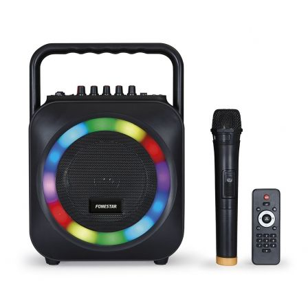 ALTAVOZ PORTATIL FONESTAR BOX-35LED CON REPRODUCTOR BT/SD Y MICROFONO INALAMBRICO - 35W RMS - FUNCION KARAOKE - EFECTOS LUMINOSO | Altavoces 1.0