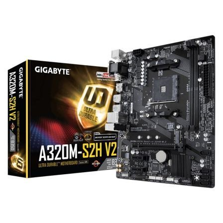 PLACA BASE GIGABYTE A320M-S2H V2 - SOCKET AM4 SOPORTA AMD ATHLON/7TH/RYZEN - CHIPSET B350 - 2*DDR4 - PCIE 3.0 X16 - HDMI/DVI-D/V