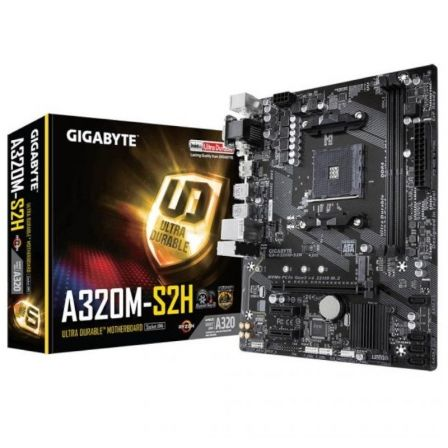 PLACA BASE GIGABYTE A320M-S2H - SOCKET AM4 SOPORTA AMD ATHLON/7TH/RYZEN  - CHIPSET A320 - 2*DDR4 - 4*USB 3.0 - HDMI/DVI-D/VGA -