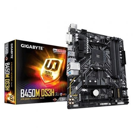PLACA BASE GIGABYTE B450M DS3H - SOCKET AM4 SOPORTA AMD RYZEN 3/5/7 - CHIPSET B450 - 4*DDR4 - HDMI/DVI-D - MATX