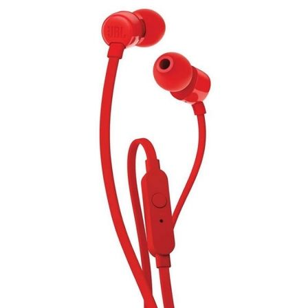 AURICULARES INTRAUDITIVOS JBL T110 RED - PURE BASS - DRIVERS 9MM - CABLE PLANO - FUNC. MANOS LIBRES |