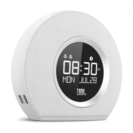 DESPERTADOR JBL HORIZON BLANCO - BLUETOOTH - DISPLAY - LUZ AMBIENTAL LED - FM/MUSICA BT/ALARMA - 2 PUERTOS USB PARA CARGA |