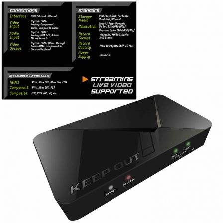 CAPTURADORA DE VIDEO KEEP-OUT HD STREAMING VIDEO CAPTURE - GRABA 1080P - ENTRADA HDMI Y VIDEO POR COMPONENTES - USB/SD/MICROFONO
