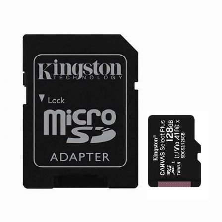 TARJETA MICROSD XC - 128GB + ADAPTADOR KINGSTON CANVAS SELECT PLUS - CLASE 10 - 100MB/S | Tarjetas de memoria