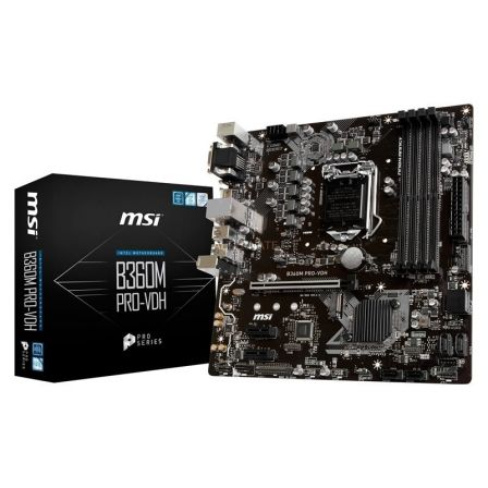 PLACA BASE MSI B360M PRO-VDH - INTEL SKT LGA1151 - PARA INTEL CORE 8TH GEN - CHIPSET B360 - 4XDDR4 - PCIE X16 - DVI-D/VGA/HDMI -