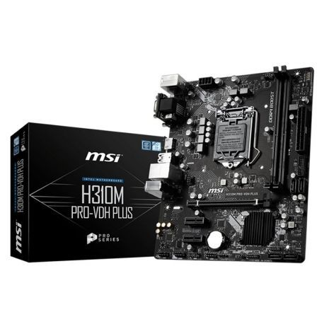 PLACA BASE MSI H310M PRO-VDH PLUS - PARA INTEL CORE 8TH GEN - INTEL SKT LGA1151 - CHIPSET H310 - 2*DDR4 - HDMI - VGA - DVI-D - M