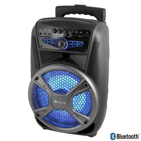 ALTAVOZ PORTATIL NGS WILD MAMBO - 35W - BLUETOOTH - FM - USB/MICROSD/AUX IN - 2 ENTRADAS MICROFONO - LUCES LED - BATERIA 4 HORAS |
