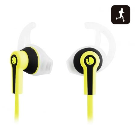 AURICULAR DEPORTIVO NGS RACER YELLOW - MICROFONO - ALMOHADILLAS SILICONA - CABLE PLANO - JACK 3.5MM |