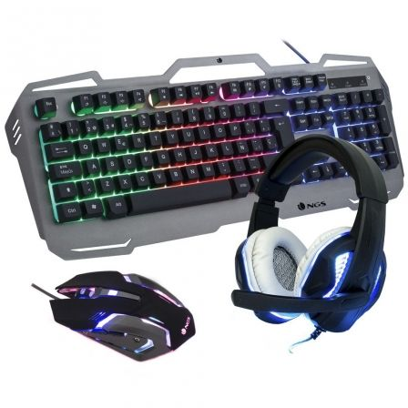 PACK GAMING NGS GBX-1500 - TECLADO RGB USB - RATON OPTICO 2400DPI USB - AURICULARES CON MICROFONO | Gaming - kits completos