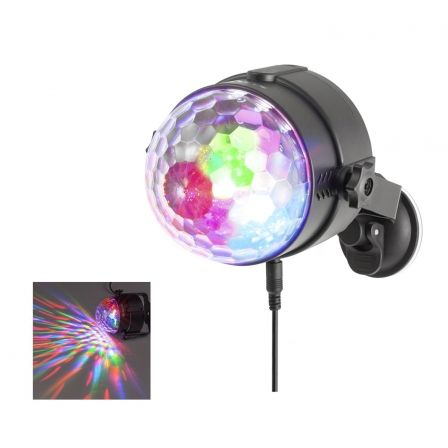 MINI BOLA DE DISCOTECA NGS USB PARTY LIGHTS SPECTRA RAVE - GIRATORIA - 3 LEDS RGB - ACTIVACION POR SONIDO - MANDO A DISTANCIA - | Party lights