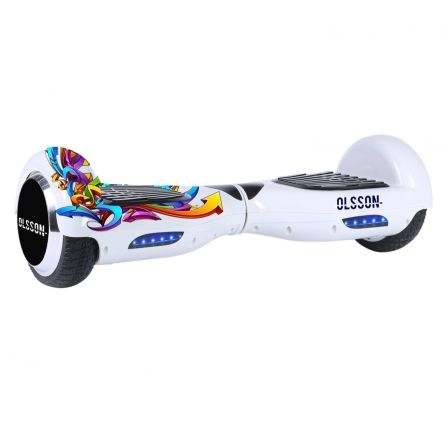 "MONOPATIN ELECTRICO HOVERBOARD OLSSON UPWAY RACING GRAFF WHITE - LLANTAS 6.5""/16.5CM - 2 MOTORES 350W - BLUETOOTH - ALTAVOZ - 10 