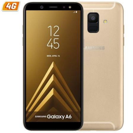 "SMARTPHONE MOVIL SAMSUNG GALAXY A6 (2018) GOLD - 5.6""/14.25CM HD+ - CAM 16/16MP - OC 1.6GHZ - 32GB - 3GB RAM - DUAL SIM - 4G - A"