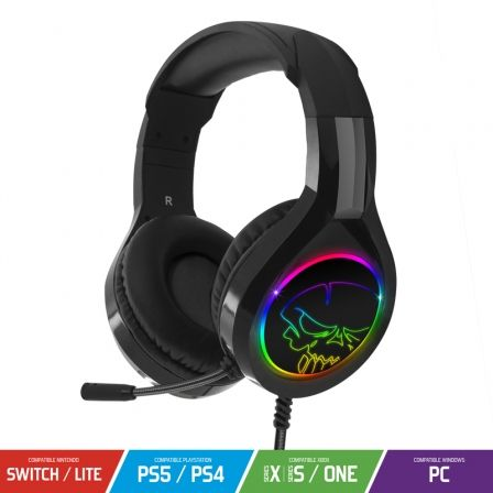 AURICULARES CON MICROFONO SPIRIT OF GAMER PRO-H8 RGB - DRIVERS 50MM - RETROILUMINACION RGB  - CONECTOR USB/JACK 3.5 - CABLE 2M |