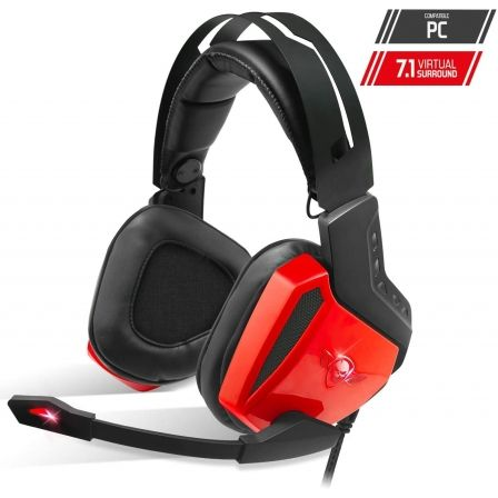 AURICULARES CON MICROFONO SPIRIT OF GAMER XPERT-H100 RED - DRIVERS 50MM - RETROILUMINACION LED ROJA - CONECTOR USB - CABLE 240CM |