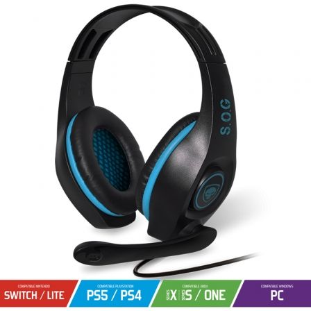 AURICULARES CON MICROFONO SPIRIT OF GAMER PRO-H5 BLUE EDITION - DRIVERS 40MM - CONECTORES JACK 3.5MM - COMPATIBLE PC/PS4/SWITCH |