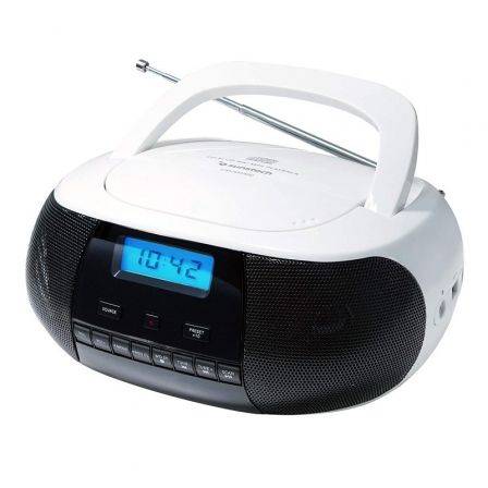 RADIO CD SUNSTECH CRUSM400WT WHITE - 2*1W RMS - CD/R/RW/MP3/WMA - FM - USB/AUX-IN - PANTALLA LCD | Radio cd / radio de bolsillo
