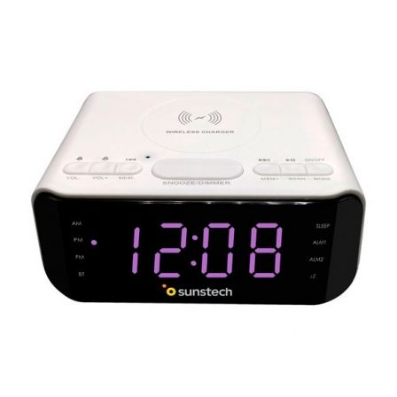 DESPERTADOR CON BASE DE CARGA INALAMBRICA SUNSTECH FRD50BTWC BLANCO - PANTALLA 10CM - BLUETOOTH - FM - ALTAVOZ INTEGRADO 3W - PU