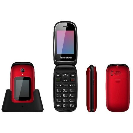 "TELEFONO MOVIL SUNSTECH CELT22RD RED - DOBLE PANTALLA 2.4""/6CM 1.77""/4.49CM - BT - 32MB ROM - CAM VGA 0.8MPX - DUAL SIM - BAT 10 