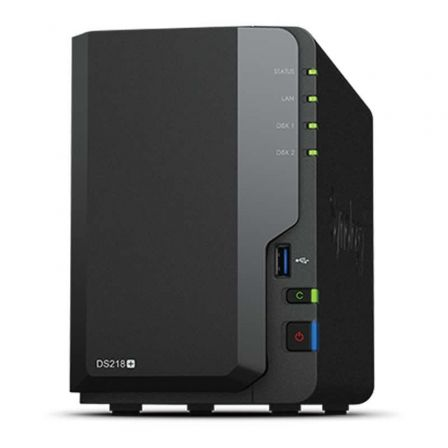 NAS SYNOLOGY DISKSTATION DS218+ - 2 BAHIAS (3.5/2.5) - CPU DC 2.0GHZ - 2GB DDR3L - LAN GIGABIT - USB - USB 3.0 - ESATA - TRANSCO | Dispositivos red