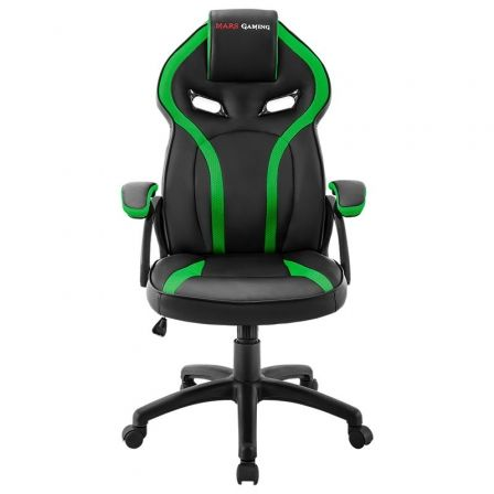 SILLA GAMER MARS GAMING MGC118BG VERDE - REPOSACABEZAS ACOLCHADO - ALTURA REGULABLE - PISTON CLASE 4 - HASTA 130 KG