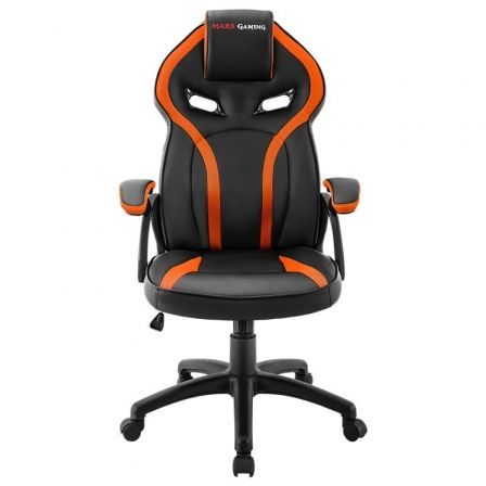SILLA GAMER MARS GAMING MGC118BO NARANJA - REPOSACABEZAS ACOLCHADO - ALTURA REGULABLE - PISTON CLASE 4 - HASTA 130 KG