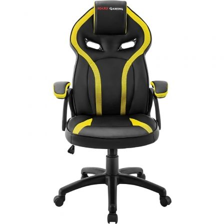 SILLA GAMER MARS GAMING MGC118BY AMARILLA - REPOSACABEZAS ACOLCHADO - ALTURA REGULABLE - PISTON CLASE 4 - HASTA 130 KG