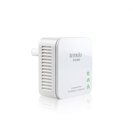 PLC/POWERLINE TENDA P200 - SINGLE PACK - 200MBPS - 300M - BOTON DE SEGURIDAD - PLUG AND PLAY