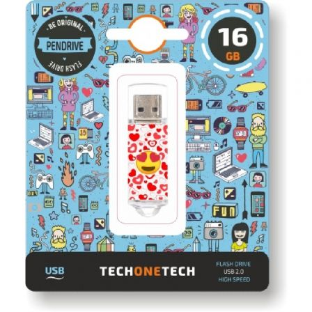 PENDRIVE TECH ONE TECH EMOJIS HEART EYES 16GB - USB 2.0 | Pendrive diseño especial