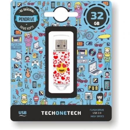 PENDRIVE TECH ONE TECH EMOJIS HEART EYES 32GB - USB 2.0 | Pendrive diseño especial