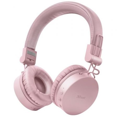 AURICULARES BLUETOOTH TRUST TONES PINK - DRIVERS 40MM - BATERIA RECARGABLE - JACK 3.5 PARA USO CON CABLE - DISENO PLEGABLE - FUN | Auriculares