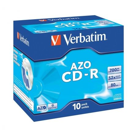 CD-ROM VERBATIM SUPERAZO CRYSTAL SURFACE 52X 700MB 10 UNIDADES | Almacenamiento cd