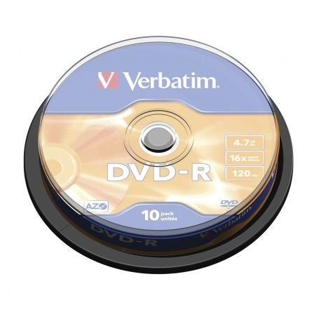 DVD-R VERBATIM ADVANCED AZO 16X 4.7GB TARRINA 10 UNIDADES | Almacenamiento dvd