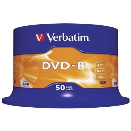 DVD-R VERBATIM ADVANCED AZO 16X 4.7GB TARRINA 50 UNIDADES | Almacenamiento dvd