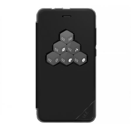 FUNDA WICUBE NEGRA WIKO PARA LENNY4 PLUS - VENTANA PARA NOTIFICACIONES - MATERIAL FLEXIBLE PARA MAYOR PROTECCION |