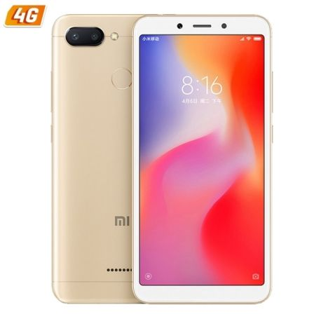 "SMARTPHONE MOVIL XIAOMI REDMI 6 GOLD - 5.45""/13.8CM - OC 2GHZ - 3GB RAM - 32GB - CAM (12+5)/5MP - 4G - DUAL SIM - BAT 3000MAH -"